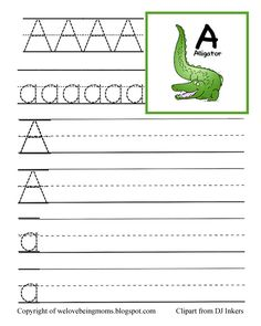 Free Preschool Tracing Pages. Simply print off and put into page protectors in a 3 ring binder. welovebeingmoms.b... #preschool #printables #ABC's