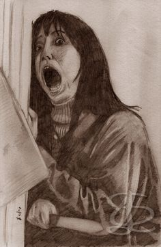 Shelley Duvall as Wendy Torrance in 'The Shining'. Freehand sketch using HB pencil and eraser. Darkened and tinted digitally.