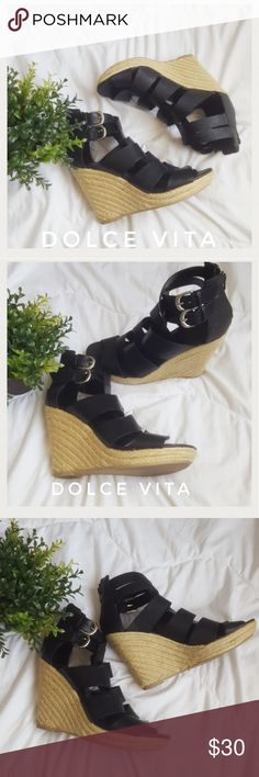 Strappy DV Wedges!!! Gorgeous black Dolce Vita wedged sandals. Used, but in great condition. Very stylish and comfortable. Comes from a smoke-free pet-free home. Fast shipping! NO TRADES! Dolce Vita Shoes Wedges