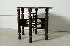 Antique Ornate Hand Carved Wooden And Etched Brass Top Folding Table