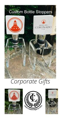 These Classic Legacy marble bottle stoppers feature the logos of The Hotel Del Coronado. When you need corporate gifts that help your business stand out and get noticed contact Classic Legacy as the go to source. Wine Bottle Stoppers, Wine Bottle Crafts, Customized Gifts, Personalized Gifts, Custom Wine Bottles, Hotel Del Coronado, Wine Storage, Corporate Gifts, Gifts For Friends