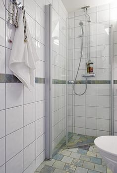 Practical folding glass shower door solution, which does't take a lot of space when not in use.