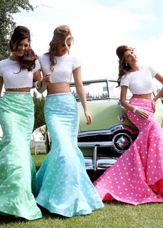 Love these skirts.  The shape is gorgeous and perfectly suited to the polka dot look.  Wonder what the fabric is...
