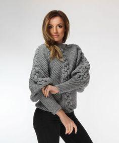 Grey Handmade Sweater // onibon FW 18/19 18th, Turtle Neck, Pullover, Sweaters, Handmade, Fashion, Tricot, Moda, Hand Made