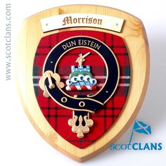 Morrison Clan Crest Wall Plaque. Free worldwide shipping available