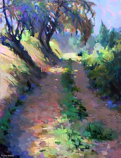 A Walk in the Country by Trisha Adams Oil ~ 40 x 30