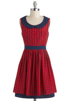 PLEASE. someone. PLEASE. buy me this.   Scene of Hearts Dress - Red, Blue, Print, Peter Pan Collar, Pleats, Casual, A-line, Sleeveless, Collared, Mid-length, Novelty Print