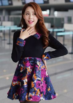 Fashion New A Line Long Sleeve Color Splicing Skater Dress on Luulla