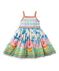 Look what I found on #zulily! White & Blue Doeska Dress - Toddler & Girls by Oilily #zulilyfinds