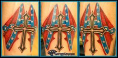 Rebel flag and cross tattoo