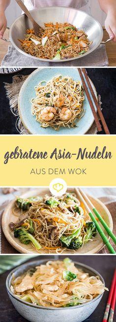 Ein Trip nach Bankok ist zu weit und der China-Imbiss nicht gut genug? Mach dir gebratene Asia-Nudeln mit frischem Gemüse im Wok einfach selbst!