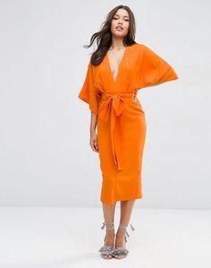 ASOS Kimono Deep Plunge Midi Dress