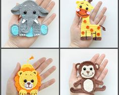 PATTERN Jungle Animal Applique Crochet Patterns PDF Elephant Giraffe Lion Monkey Crochet Appliques Zoo Animals Motif Baby Blanket Gift ENG