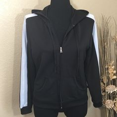 Black Athletic Jacket This super cute zip up jacket has blue stripes down the sleeves and a hoodie. Like new pre-loved condition. NY&C Sport Jackets & Coats