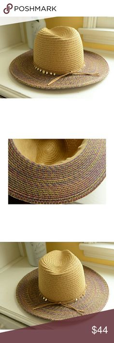 NEW Anthropologie Beautiful La Jolla Rancher Hat This is a gorgeous multi-colored wide brim hat from Anthropologie, with suede thin sash and reflective ornaments. I bought this in the Fall and never wore it. It's brand new. Enjoy! Anthropologie Accessories Hats