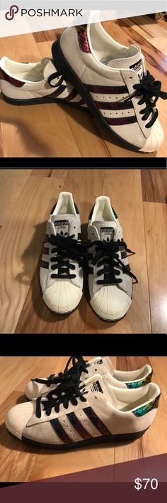 quality design e2561 72803 Adidas old school suede superstars. Snakeskin. 7.5 Adidas old school suede  variegated snakeskin bands