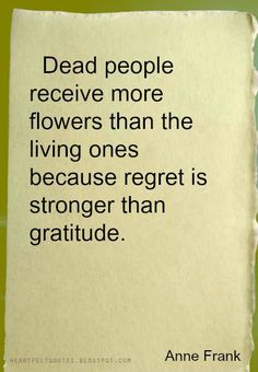 Profound, also about continuing to pay respects to those no longer present in everyday life...good reminder: