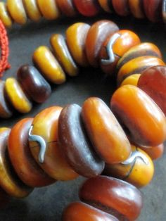 Collectible strand of large Resin Amber beads from Berber tribe in Atlas Mountains of Algeria.