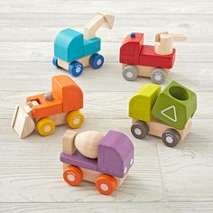 Imaginary_Mini_Vehicle_Group Source by Wooden Toy Trucks, Wooden Car, Grimm's Toys, Diy Toys, Making Wooden Toys, Plan Toys, Wood Toys, Building Toys, Toy Boxes