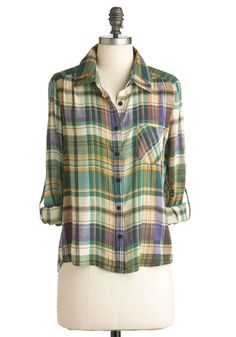 Van Wilderness Top - Yellow, Purple, Multi, Plaid, Pockets, Casual, Long Sleeve, Vintage Inspired, 90s, Short, Multi, Green, Cotton, Button Down, Collared, Rustic