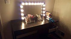 Black Space Saver lighted vanity mirror. Bottom by WoodUBeMine