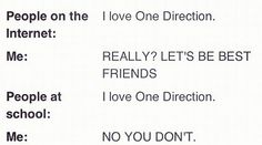Basically this is my life i love people on theinternet but wont let people at my school even say or think of one direction or i will kill them