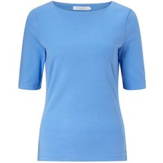 John Lewis Boat Neck Half Sleeve T-Shirt (£15) ❤ liked on Polyvore featuring tops, t-shirts, blue, reversible t shirts, ribbed t shirt, half sleeve tee, boat neck tops and elbow length tee