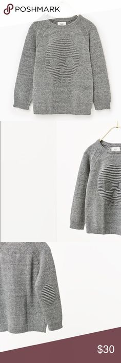 Skull Sweater with Elbow Detail Zara Boys Round neck sweater with long sleeves and raised elbow patches Zara Shirts & Tops Sweaters