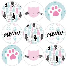 Mermaid Theme Birthday, Cat Birthday, Birthday Party Favors, Kitten Party, Cat Party, Grad Party Decorations, Kids Labels, Candy Cards, Animal Party