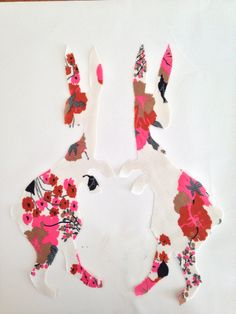 Applique hares in 70's fabric