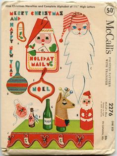 1950s Christmas Craft Pattern McCall's 2276 Felt by GreyDogVintage, $12.00