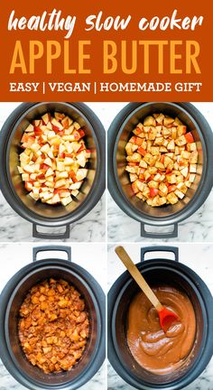 This healthy homemade apple butter is made in the slow cooker without any added sugar. Enjoy as a spread on toast or stir into a warm bowl of oatmeal. #eatingbirdfood #applebutter #slowcooker #crockpot #nosugaradded #apple No Sugar Added Recipe, Homemade Apple Butter, Gluten Free Recipes, Healthy Recipes, Crock Pot Desserts, Healthy Slow Cooker, Bird Food, Vegan Vegetarian, Food Inspiration