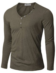 Doublju Mens Henley T-shirts with Button Placket GRAY (US-XS)