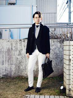 メンズきれいめ【白パンツコーデ】まとめ14選!ホワイトパンツ×秋冬ジャケット | fululuri