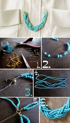 braided beads necklace 4 Chic Ideas for DIY Necklace @Cheri Edwards Bencomo  too hard? We should make some jewelry
