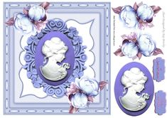 pretty cameo lady with blue roses in ornate frame, makes a pretty card, can be seen in other colours