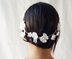 Bridal flower crown Floral tiara White hair wreath by Lietofiore, $75.00