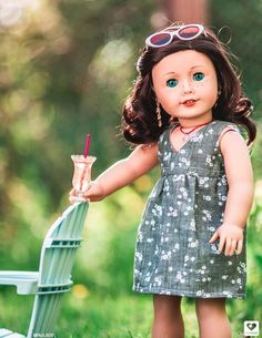 Salina Dress 18 inch Doll Clothes Pattern PDF Download   Pixie Faire Ropa American Girl, My American Girl Doll, American Girl Clothes, Girl Doll Clothes, Barbie Clothes, Doll Dress Patterns, Clothing Patterns, Sewing Patterns, Ag Dolls