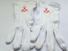 1 pair white cotton gloves freemasonry women male glove free masons glove red embroidery logo for the lodge masonic mittens