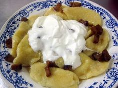 Back to Slovakia...Filled potatoes dumplings with many different flavours. This recipe is for dumplings filled with a chees and added bacon but you could do sweet version with jam or marmalade, nuts or poppy seeds.