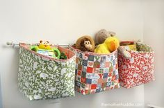 Sewing Fabric Storage Hanging-fabric-baskets-tutorial - 15 Delightful and Creative DIY Toy Storage Ideas to keep your house organized! Creative Toy Storage, Diy Toy Storage, Hanging Storage, Storage Ideas, Hanging Baskets, Storage Bins, Diy Hanging, Storage Hacks, Wall Storage