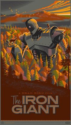 """Laurent Durieux's rendition of Brad Bird's Iron Giant commissioned by Mondo. Screened at the Alamo Ritz in Austin, Texas, May 26th, 2012. 21""""x36"""" screen print. Hand numbered. Edition of 425 (2012) (My first piece of art by Laurent and sadly now SOLD)."""