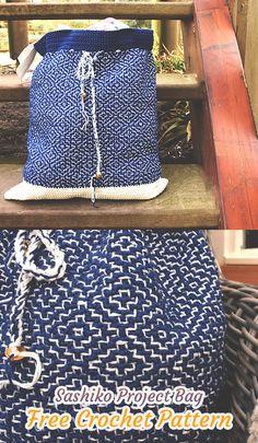 Sashiko Project Bag Free Crochet Pattern #crochet #crafts #fashion #style #handmade #homemade