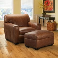 Winslow 100% Top Grain Leather Chair And Ottoman