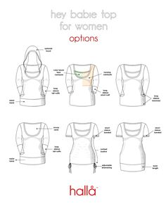 hallå hey babie toppattern for women THIS SEWING PATTERN & TUTORIAL INCLUDES:  Instructions and pattern pieces, professionally drafted and layered Women's sizes 00 to 26 Options for year round use Bust, waist, and hip ruler overlaid on pattern to help you get the best fit Easy to follow instructions with color photographs Intuitive puzzle piece pattern assembly guide Easy to assemble pages (overlap and secure with a glue stick)  OPTIONS:  Long Sleeves With Tall or Short Cuffs...