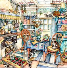 Cottage Kitchen by Kim Jacobs. It may only be a drawing, but, I adore it.