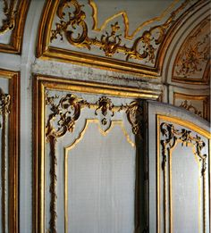 detail of damaged boiserie at the Palace of Versailles - France - century photo by POLIDORI, Robert Chateau Versailles, Palace Of Versailles, Madame Du Barry, Grey And Gold, Blue Gold, French Decor, Wall Treatments, Architectural Elements, Blue Walls