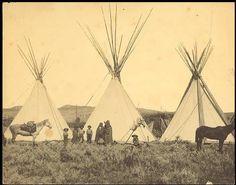 """lieber Luci, hier gibts noch Fotos von den echten """"Indiandern"""" die es dann bald nicht mehr gab.  Black Lodge's camp, Crow, circa 1875"""