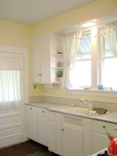 white and yellow kitchen - for our house at the lake!
