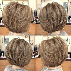 The Full Stack: 50 Hottest Stacked Haircuts Voluminous Stacked Feathered B. Short Layered Haircuts, Short Hairstyles For Thick Hair, Layered Bob Hairstyles, Haircuts For Fine Hair, Haircut For Thick Hair, Short Hair With Layers, Short Hair Cuts, Pixie Haircuts, Braided Hairstyles
